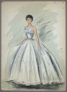 Costume sketch by Edith Head for Elizabeth Taylor in 'A Place in the Sun', 1951.