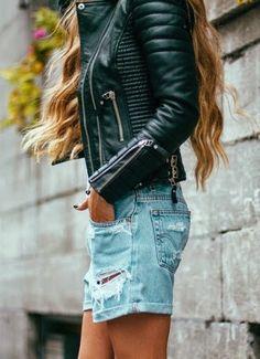 #street #style / denim skirt + leather