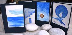 Greetings   Cards,   Handmade,  Watercolor painting, Original painting, Seascape, Cycladic Greek House, Boat, Blue,Sun