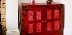 Easy Steps For A Unique  Red Cabinet Upcycle