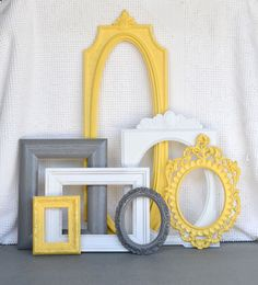 Yellow Grey White Ornate Vintage Open Frames Set of 7 by BeautiSHE, $75.00