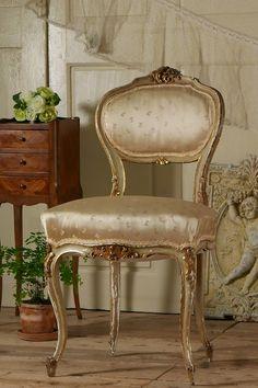 アンティーク プリンセスのチェア(花柄シルク)B  French Antique Chair