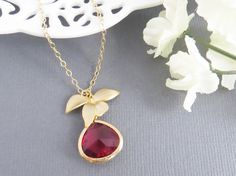 Lariat Orchids Necklace, Flowers Pendant with Ruby Stone, Holiday Gift, Christmas Gift, Gift for Mom, Bridesmaid Necklace, Birthday Gift