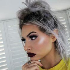 Highlighter Game Dramatic Makeup Look Long Lashes Makeup Goals, Makeup Inspo, Makeup Inspiration, Makeup Tips, Beauty Makeup, Hair Makeup, Hair Beauty, Color Contour, Pastel Hair
