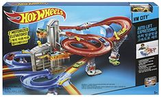 Going up, the Hot Wheels auto-lift expressway lets kids load up their cars and watch them race skyward as two elevators robotically take them two by two all of the Auto Lift, Lifted Cars, Hot Wheels, Two By Two, Racing, Activities, Watch, Games, Toys