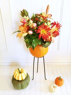 Pumpkin Flower Arrangements - perfect for your fall curb appeal!