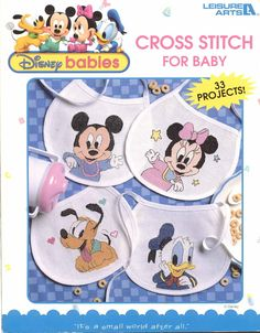 Disney Babies Cross Stitch for Baby Book 33 Projects Leisure Arts OOP 1998 for sale online Cross Stitch Magazines, Cross Stitch Books, Baby Cross Stitch Patterns, Cross Stitch Baby, Disney Pixar, Stitch Disney, Baby Mickey, Mickey Mouse, Thread Art