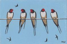 Nine Swallows, Linocut, Nick Wonham