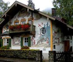 Bavaria -  The Little Red Riding Hood painted house