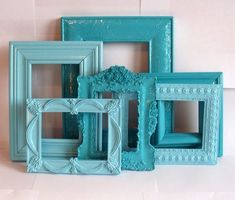 Seaside Frame Collection Aqua & Turquoise Blue 6 by MandolinGoose Girl Room, Girls Bedroom, Bedroom Decor, Baby Bedroom, Wall Decor, Shades Of Turquoise, Shades Of Blue, Bedroom Turquoise, Shabby Chic Bedrooms
