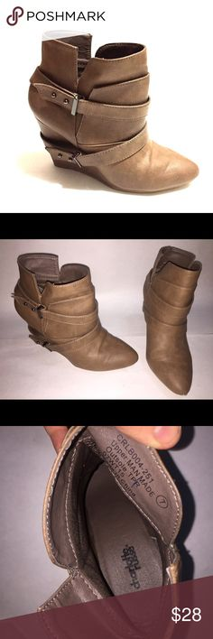Charlotte Russe Heeled Wedges Ankle Bootie Shoes Charlotte Russe shoes, heeled wedges, ankle booties ; Size 7, Leather Tan skin, hardly used Charlotte Russe Shoes Ankle Boots & Booties