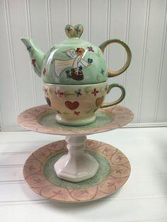 Angel bird bath - teapot whimsy - teapot bird feeder - yard art - garden totem - fairy garden decor - upcycled ceramic - garden art by BsCozyCottageCrafts on Etsy Ceramic Birds, Ceramic Plates, Cottage Crafts, Garden Whimsy, Candle Stand, White Candles, Yard Art, Sell On Etsy, Bird Feeders