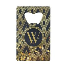 Art Deco Gatsby Glamour Geometric Pattern Monogram Credit Card Bottle Opener - luxury gifts unique special diy cyo