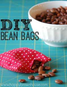 Tutorial for How to Make DIY Bean Bags for the kids. Great idea for DIY gifts. Supe easy to make. If you can sew a straight line, you can make beanbags! Great beginner sewing project or to make for the kids to play gross motor games. How To Make Beans, How To Make Diy, Crafts To Do, Crafts For Kids, Diy Bean Bag, Diy Party Games, Homemade Beans, Kids Bean Bags, Sewing For Kids