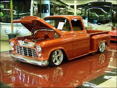 56' Chevy I had a chick friend in high school who's dad built her one and painted it metallic purple. Was a great looking truck.