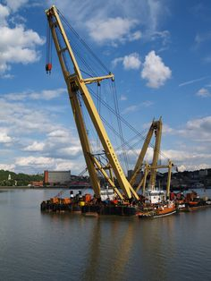 A crane on a barge off Rochester riverside [shared]
