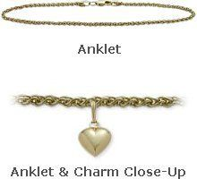 """14K Yellow Gold 9"""" Wheat Style Anklet with 9mm Heart Charm Elite Jewels. $219.50. Save 35%!"""