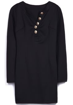 Black V Neck Long Sleeve Buttons Straight Dress -