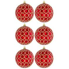 Red Ball Ornaments with Gold Glitter Circles