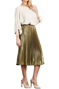 Metallic Accordion Pleat Midi Skirt