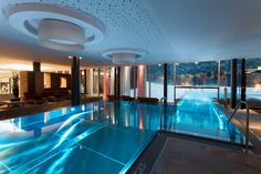Wellness, pool and fi tness are on approx. 1,500 sq m: Swimming landscape with an indoor and outdoor pool; Jacuzzis and an outdoorwhirlpool in the sauna area  http://www.falkensteiner.com/en/hotel/schladming/wellness