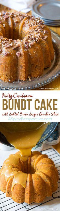 Crazy over this Nutty Cardamom Bundt Cake with Bourbon Glaze on ASpicyPerspective.com @dcsalt