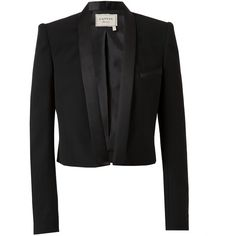 LANVIN Cropped Wool Tuxedo Jacket ($2,780) ❤ liked on Polyvore