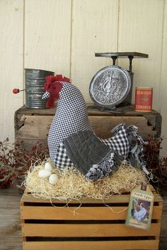 PRIMITIVE FOLK ART PATCHWORK CHICKEN HEN DOLL with EGGS ofg ab4b wsoapp. $45.00, via Etsy.