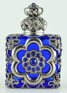 Vintage Blue Hand Made Vanity Perfume Oil Bottle by chicandcharm, $27.00