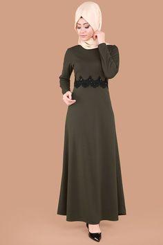 ** YENİ ÜRÜN ** Beli Güpür Tesettür Elbise Haki Ürün kodu: UKB4958 --> 44,90 TL