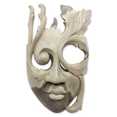 NOVICA Modern Hibiscus Wood Mask ($62) ❤ liked on Polyvore featuring home, home decor, balinese contemporary masks, beige, masks, novica, mod home decor, wood home decor, novica masks and novica home decor