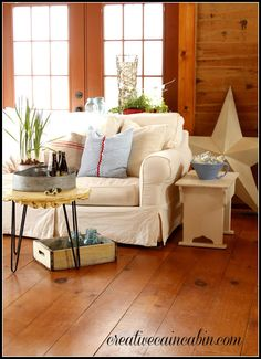 All the white really lightens everything up, and it doesn't get lost against the wood walls