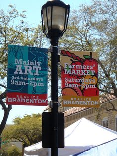Lamp Post Banner With Wind Spilling Brackets Light Pole