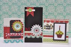 Beautiful cards made using the Creative Memories 'Enchanted' papers, flowers, ribbons and epoxy stickers.