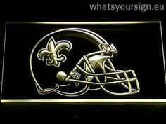 New Orleans Saints Helmet - Neon sign LED display made of the first-class quality clear acrylic and bright colorful illumination. The neon sign looks exactly the same from all angles thanks to the carving with the newest 3D laser engraving process. This LED neon sign is a great gift idea! The neon is provided with a metal chain for displaying. Available in 3 sizes in following colours: Purple, Green, Yellow, White, Blue, Red and Orange!