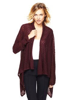 Alina Shawl-Style Sweater Shawl-style sweater; Solid, fine-gauge knit; Features open crochet effect throughout; Banded hem; Unlined SweaterWomen #Shirts
