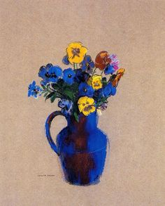Odilon Redon(1840ー1916)「Vase of Flowers, Pansies」