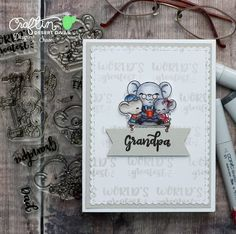 These sweet mice are ready for a fun day with Dad or Grandpa! Fathers Day Cards, Clear Stamps, Card Making, Dads, Paper Crafts, World, Gallery, Fun, Handmade