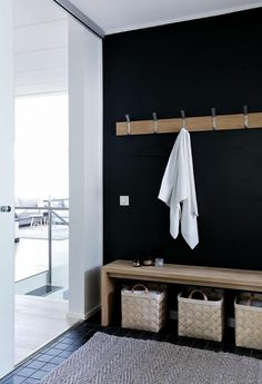 Dark wall with wooden accents for sauna changing room Home Interior, Interior Design Living Room, Interior Decorating, Bad Inspiration, Bathroom Inspiration, Sauna Design, Sauna Room, Home Spa, Home And Living