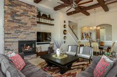 One of our favorite models is the Biscayne with an expansive great room. This one in Lakeshore Ranch, Tampa. Living room, Real Estate
