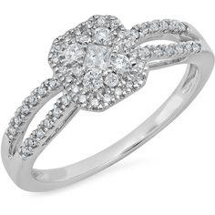 10K White Gold 1/3ct Princess Cut Diamond & Round Diamond Illusion... ($599) ❤ liked on Polyvore featuring jewelry, rings, white gold, princess cut ring, round diamond ring, white gold jewelry, princess cut diamond jewelry and diamond jewellery