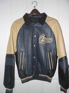 9f2dbfaeeb4e Mens Guess Leather Letterman s Jacket Size M  Guess  BaseballJacket Vintage  Leather