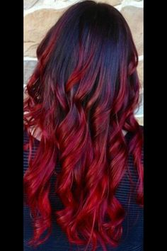 Black hair ombre, brown to red ombre, red ombre hair color, black Love Hair, Gorgeous Hair, Beautiful Dream, Black Hair Ombre, Brown To Red Ombre, Ombre Burgundy, Red Hair With Black Roots, Black Hair Red Tips, Red Ombre Hair Color