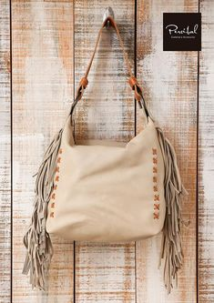 Hobo Bag Fringe Leather Cream Handbag Bucket Women