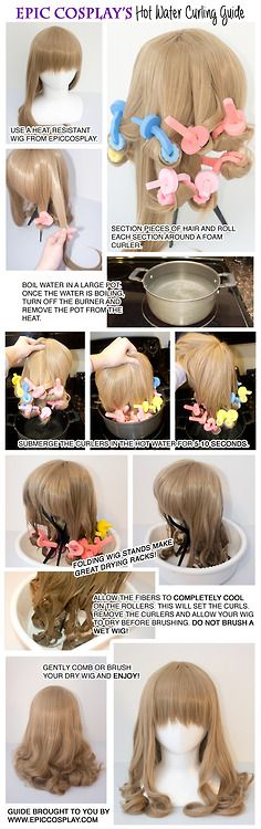 You don't need much in the way of experience or tools to achieve beautiful curls! We curl our Au Naturale style Maya with just curlers and hot water! It's easy! *Note: EpicCosplay wigs are heat resistant up to 400 F. Not all wigs are! Cosplay Hair, Epic Cosplay, Cosplay Makeup, Costume Makeup, Cosplay Wigs, Cosplay Wig Tutorial, Costume Tutorial, Wig Styling Tutorial, Wig Making