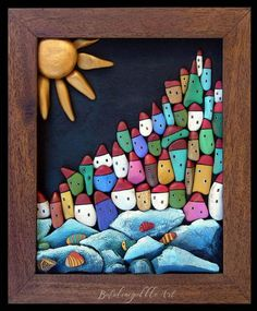 il sole che non voleva tramont. Stone Art Painting, Pebble Painting, Pebble Art, Stone Crafts, Rock Crafts, Diy Arts And Crafts, Painted Rock Cactus, Hand Painted Rocks, Drawing Rocks