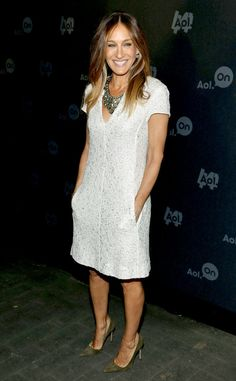 As if her embroidered L'Agence dress doesn't have enough dazzle, Sarah Jessica Parker layers on a sparkling statement necklace in NYC.