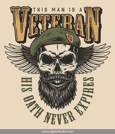 Vintage vector design of a bearded skull in military theme. Vector custom design of the skull. Vector Design, Logo Design, Custom Design, Skull Illustration, Unique Poster, Badge Logo, Skull Art, Skull Flag, Skull Design