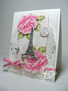 Paris in the Spring-Stamps: Artistic Etchings, Stippled Blossoms, French Foliage, Collage Curios     Paper: Whisper White     Ink: Black StazOn, Pretty in Pink, Melon Mambo, Certainly Celery, Old Olive, Crumb Cake     Accessories: Fancy Fan Folder, Big Shot, 3/4″ Circle Punch, Melon Mambo 3/8″ Striped Organdy Ribbon, Tea Lace Paper Doily, Stampin' Dimensionals, Sponge