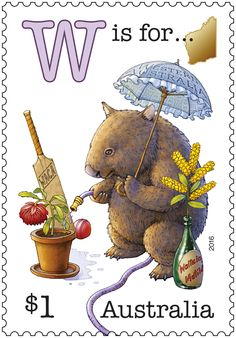 This stamp issue is part one of a series featuring an old-fashioned Aussie alphabet of humorous scenes. It begins with the letters representing five of our states. Old Stamps, Postage Stamp Art, Westerns, Alphabet And Numbers, Penny Black, Fauna, Mail Art, Stamp Collecting, My Stamp